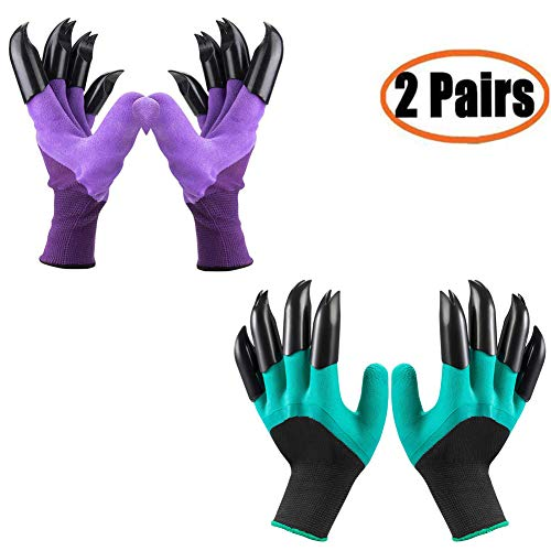 Gardening Gloves Claws(2019 Upgrade), Waterproof and Breathable Garden Gloves for Digging Planting, Best Gardening Gifts for Women and Men (Purple 1 Pairs and Green 1 Pairs)