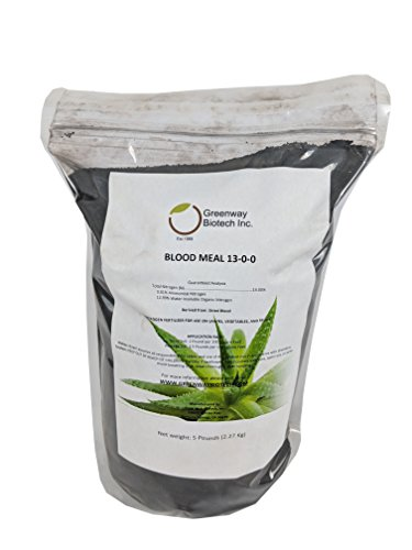 Blood Meal 13-0-0 Nitrogen Fertilizer Greenway Biotech Brand 5 Pounds