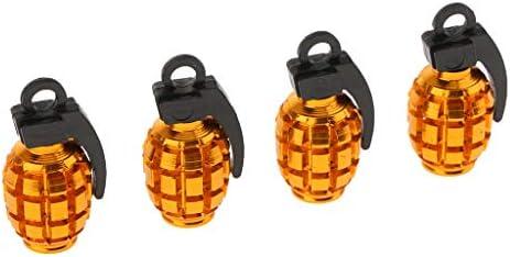 カータイヤ タイヤバルブ エアバルブ ダストカバー キャップ 手榴弾の形 取付けが簡単 4個 全3色 - 黄