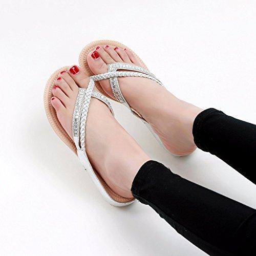 Con Flops Mujer Flip Verano Externo Antideslizante Silver Desgaste Piso Artificial Chanclas Plano Diamante Awxjx wv8qRHCq