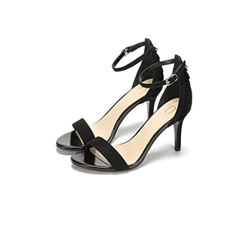 Lotus Leaf Suede High Heels Fashionable Comfortable Women Exposed Toe Sandals Summer Sexy Feet Bare Shoes (Color : Black, Size : 34)