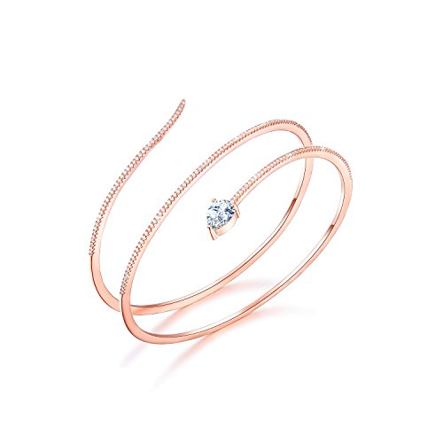 Rose Gold Pave - SHINCO Snake Shape 18k Rose Gold Plated Open Adjustable Bangle Cuff Wrap Bracelets CZ Diamond Jewelry for Women Girls, Mothers Day Gifts, Gifts for Graduation
