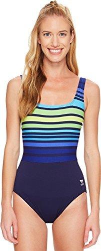 - TYR Women's Ombre Stripe Aqua Control Fit Swimsuit, 10, 405 Navy/Green