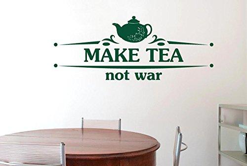 Make Tea Not War Flower Teapot Wall Stickers Art Decals -...