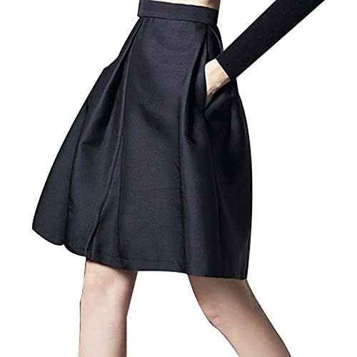 Nice FACE N FACE Women's High Waist A Line Pleated Midi Umbrella Skirt for cheap