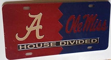 Alabama Crimson Tide House Divided Mirrored Car Tag License Plate Auburn Tigers