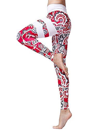 FLYILY Frauen Yoga Pants Gedruckt hohe Taillen-Power Flex Capris Workout Gamaschen für Fitness Laufen
