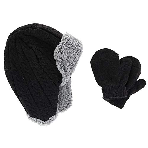 CTM Infant Boy's 0-2 Trapper Hat with Sherpa Lining and Mitten Set, Black