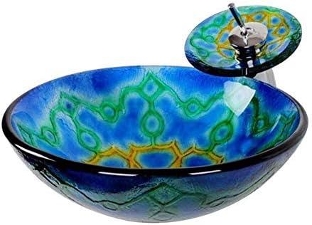 洗面ボウル モダンデザイン独特の色焼戻し浴室のガラス容器シンクオイルラバーブロンズの蛇口、ポップアップコンボドレイン 洗面台 洗面器 (Color : Blue, Size : 42.5x42.5x15cm)