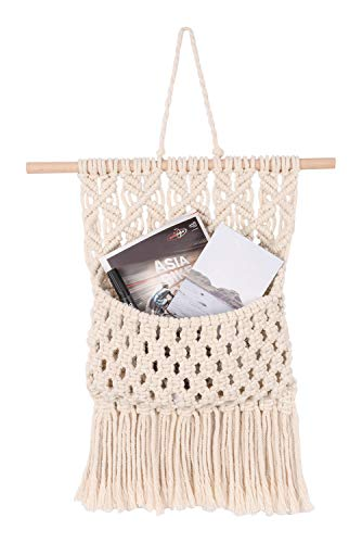 TIMEYARD Macrame Wall Hanging Magazine Holder Bohemia Chic Living Room Wall-Mounted Organizer for Mail Postcard Flowers
