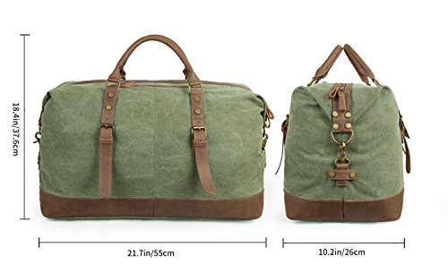 Oversized Travel Duffel Bag Canvas Leather Trim Overnight Bag Weekend Bag for Men and Women by Paraffin (Image #2)