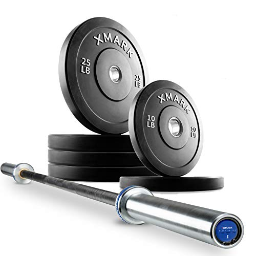 XMark Deadlift XM-9061 Commercial Olympic Bar and 120 lb Slim Profile, Low Bounce Premium Olympic Bumper Plate Set, XM-3385