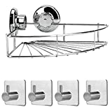 RONRI Shower Caddy Storage Set - Accessories Corner Shower Caddy with Suction Cup - 304 Stainless Steel & 4pc Wall Hook With 3M Self Adhesive for Bathroom and Kitchen