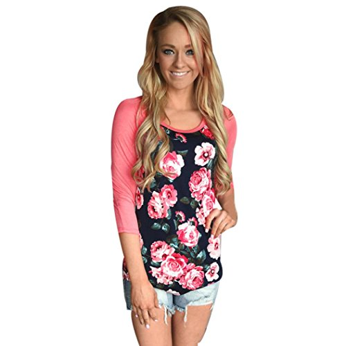 Canserin Women Classic Floral Print Splice 3/4 Sleeve T-Shirt, Large - Pink