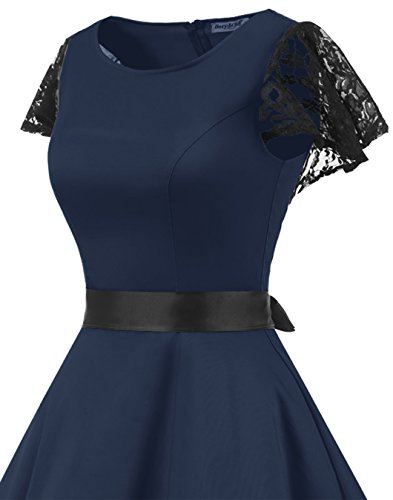Party Women's Swing Retro Dresses BeryLove 50s Coaktail Navy Lace Sleeves Vintage Rockabilly 1WZTzZR