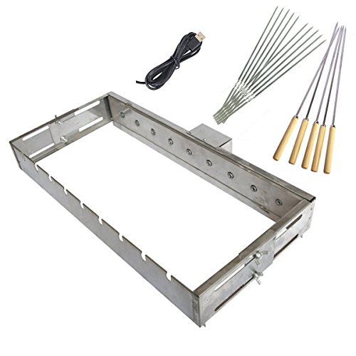 INKANEAR BBQ Grill Automatic Flip Kebab, Charcoal Grills Accessories Gas Ovens, Barbecue Tool Electric Rotation Sunday Roast, Stainless Steel Electric Motor 15 Roasting Skewers, 18.5-inch