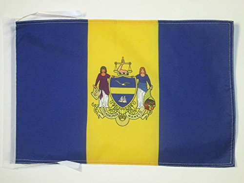 PHILADELPHIA FLAG 18'' x 12'' cords - PHILADELPHIA CITY - PENNSYLVANIA SMALL FLAGS 30 x 45cm - BANNER 18x12 in - AZ FLAG