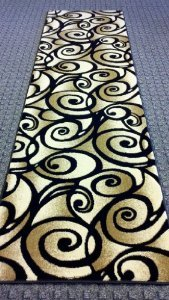 Modern Rug Runner 32 In. Wide X 10 Ft. Long Design Contempo 341 Black