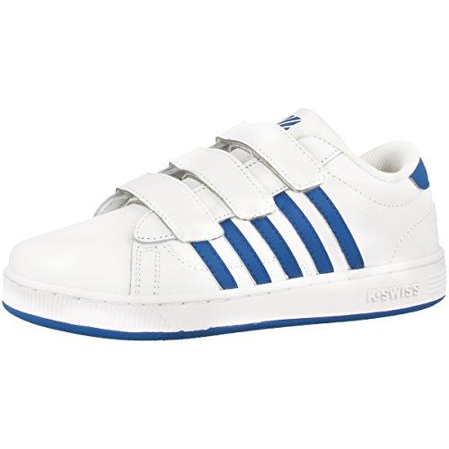 K-Swiss Unisex-Kinder Hoke TT 3-Strap Sneakers Weiß(WHT/CLASSICBLUE/GLOW)