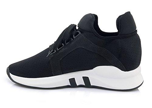 Moda YE Nero Chiusa Sneaker Donna Stringata Scarpe Basso Punta Platform con znzTwrZxq