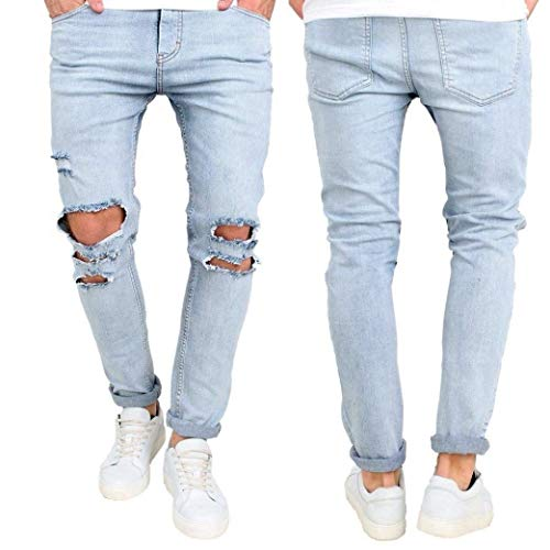Jeans Blau R Da Attillati Denim Skinny E Con Strappati Abbigliamento Uomo Nastrati Aderenti xxTfq1w4