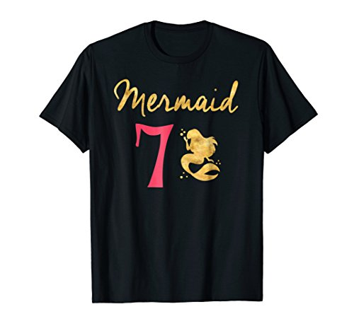 Mermaid 7th Birthday Gold Letters Outfit Shirt for (Seventh Letter T-shirt)