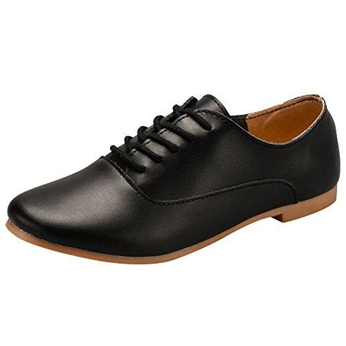 Jamron Mujer Suave Cuero Dedo Punteado Plano Oxfords Ligero Casual  Comodidad Encajes Zapatos Negro a4c8bd1cbe6