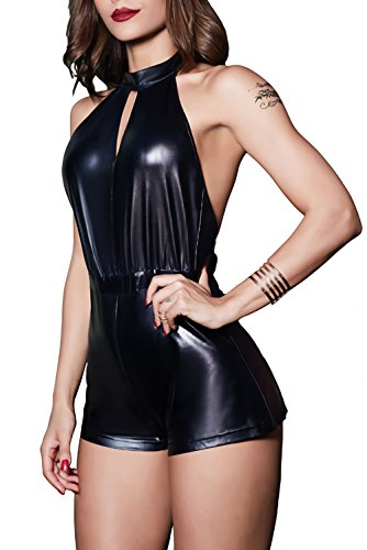 Velius Women's PU Leather Sexy V-Neck Halter Backless Night Bar Clubwear Bodysuit (Large, Black)