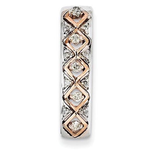 Argent Sterling et or Rose 14 carats Pendentif JewelryWeb Fashion diamants bruts