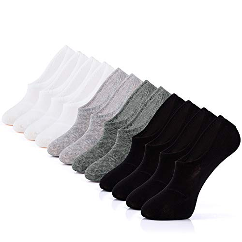 IDEGG Women's and Men's No Show Socks 6 Pairs Low Cut Anti-Slid Athletic Casual Cotton ()