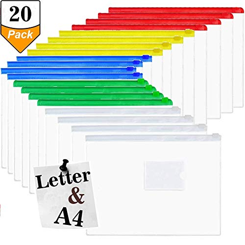 Gallop Chic 20 Pcs Plastic Poly Zip Envelope, Letter Size Document Pouch, Assorted Color PVC Zippers, Clear Color A4 Paper File Folder Bags for Office School Family by Gallop Chic
