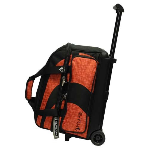 Pyramid Path Deluxe Double Roller with Oversized Accessory Pocket Bowling Bag (Black/Orange Circuit) by Pyramid
