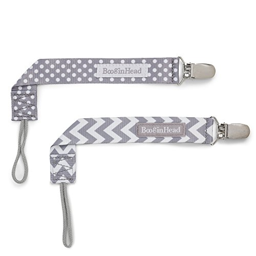 Pacifier Clip, 2 Pack, Grey White Chevron/Grey White Polka Dot ()