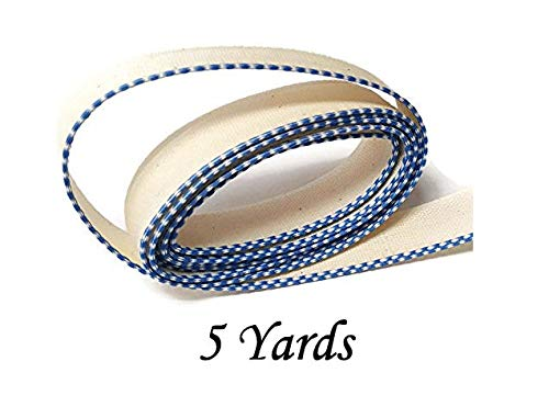 FimBand Book Binding Headbands/Endbands - White/Royal Blue - 5 Yards (180 inches) - Medium Cotton - 5/8'' Wide by KCTM