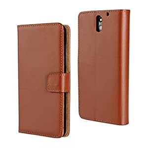 KCASE Slim Wallet Card Pouch Flip Leather Stand Case Cover For HTC Desire 610 Brown