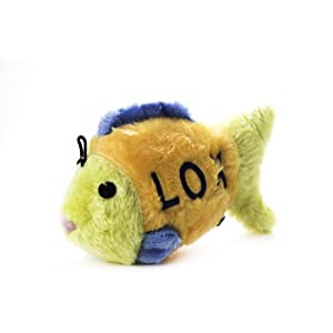 Copa Judaica Chewish Treat 7.5 by 2.75 by 4.5-Inch Lox Fish Squeaker Plush Dog Toy, Large, Multicolor