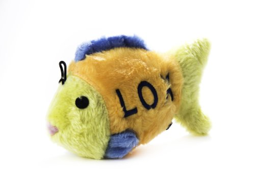 Copa Judaica Chewish Treat 4 by 1.5 by 2.5-Inch Lox Fish Squeaker Plush Dog Toy, Small, (Chewish Plush)