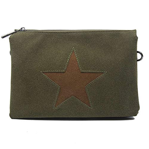 Con Estrella Embrague Bolsa Verde Dama Bandolera Cuero La Compartimentos Negro Lona Joyas De Oscuro 3x Tela PPxRq0r