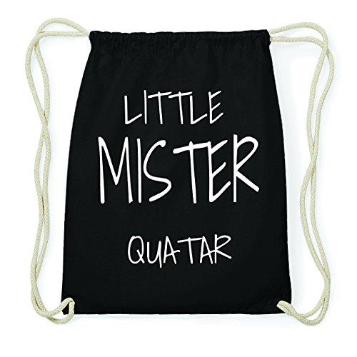 JOllify QUATAR Hipster Turnbeutel Tasche Rucksack aus Baumwolle - Farbe: schwarz Design: Little Mister P3KdG