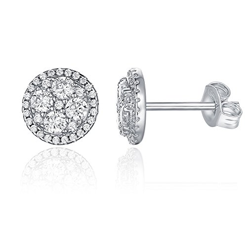 (PAVOI 14K White Gold Plated Sterling Silver Post Halo Cluster Cubic Zirconia Stud Earrings for Women | White Gold Earrings)