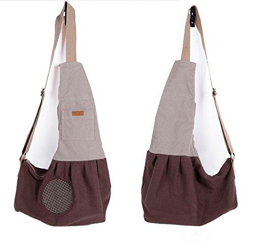 Brown LILYS PET Pet Dog Cat Puppy Sling Carrier,Adjustable Pet Shoulder Bag Sling Carrier Breathable Mesh Design (Brown)