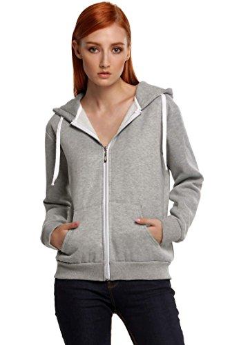 Meaneor Women's Long Sleeve Burnout Thermal Zip Up Hoodie Gray XL