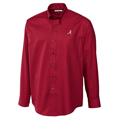 Cutter & Buck NCAA Alabama Crimson Tide Men's Long Sleeve Epic Easy Care Fine Twill Shirt, Medium, Cardinal Red