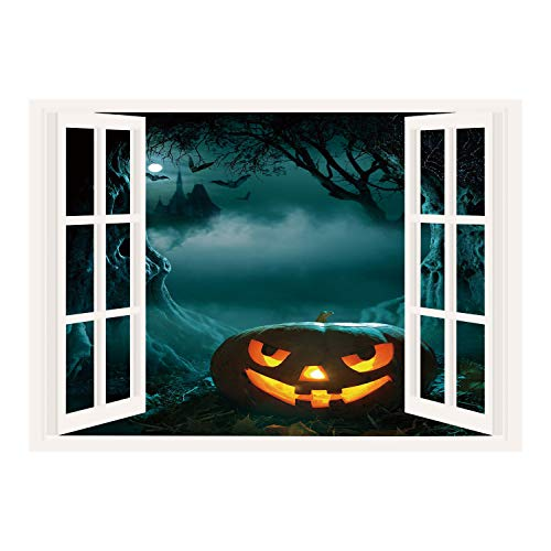 SCOCICI Removable Wall Sticker/Wall Mural/Halloween,Carved Pumpkin in Dark