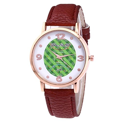 Creative Football Sports table activating force fashion leather Band analog Quartz Round wrist Watch Watches (Coffee)