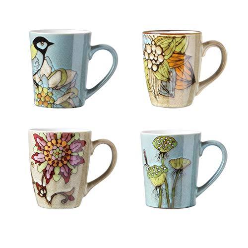 Porcelain Vintage Floral Mugs Set- 14 Ounce Latte Mug Cup Set for Coffee, Tea, Cocoa, Dishwasher And Microwave Safe (Mixed Mug set of 4)