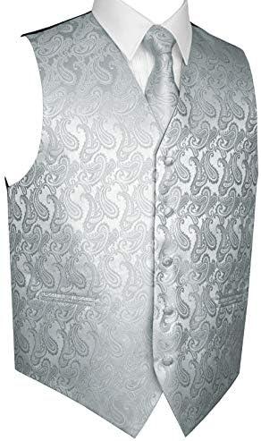 Brand Q Men`s Formal Prom Wedding Tuxedo Vest Tie & Hankie in Silver Paisley