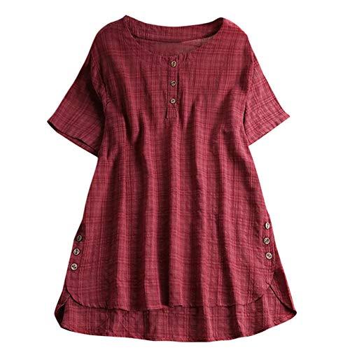 Aniywn Women Plus Size Round Neck T-Shirt Summer Loose Short Sleeve Kaftan Casual Linen Button Tunic Blouse Wine