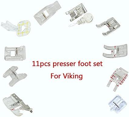 HONEYSEW 11 pcs Presser Feet Embellishment Piecing 7 Groove Cording Foot for Husqvarna Viking Sewing Machines