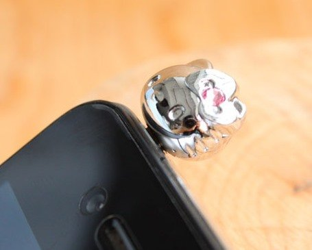 CJB Dust Plug / Earphone Jack Accessory Lovely Kitty Swarovski Silver for iPhone 4 4s S4 5 All Device with 3.5mm Jack (US Seller)